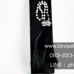 ขนมิ้งดำสายสร้อยเพชร หัวมงกุฏ ห้อยประดับกระจก Mirror Crystal Chain Black