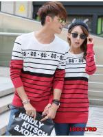 พรีออเดอร์ เสื้อคู่รัก เสื้อกันหนาว/เสื้อแขนยาว/เสื้อไหมพรม สีแดง(ราคาต่อคู่)