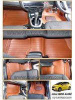 พรมปูพื้นรถยนต์ ALL NEW JAZZ 2014 รุ่น 5D Leather mats สีน้ำตาล เข้ารูป 100%