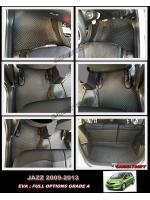 ผ้ายางปูพื้นรถยนต์ JAZZ 2009-13 ลายกระดุม สีดำด้ายแดง 18 ชิ้น +แผ่นปูท้าย + ปิดเบาะหลัง เข้ารูป 100%