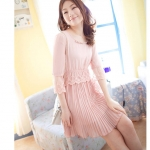 ladies lace chiffon dress สีชมพู