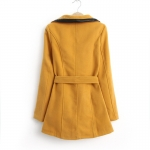 [Preorder] เสื้อแจ๊กเก็ตกันหนาวแฟชั่นแขนยาวสไตล์ยุโรป  สีเหลือ (ไซส์ S M L XL) European Grand Prix 2014 winter new women's cotton big village PU leather stitching lapel wool coat windbreaker jacket