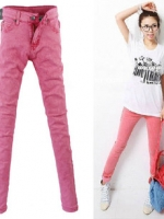 กางเกงยีนส์แฟชั่นสีชมพู